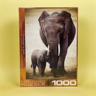 پازل 1000 تکه یوروگرافیکس طرح Elephant & Baby (فیل و بچه فیل)
